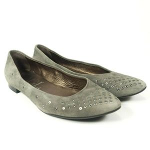 AGL Suede Leather Studded Grommet Flats
